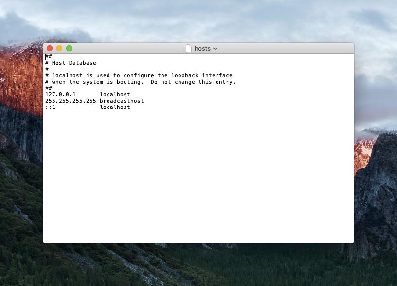файл hosts в macOS