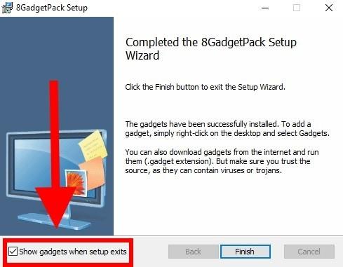 Конец загрузки 8GadgetPack