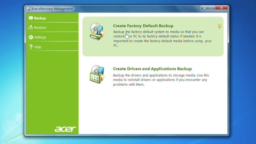 Acer eRecovery