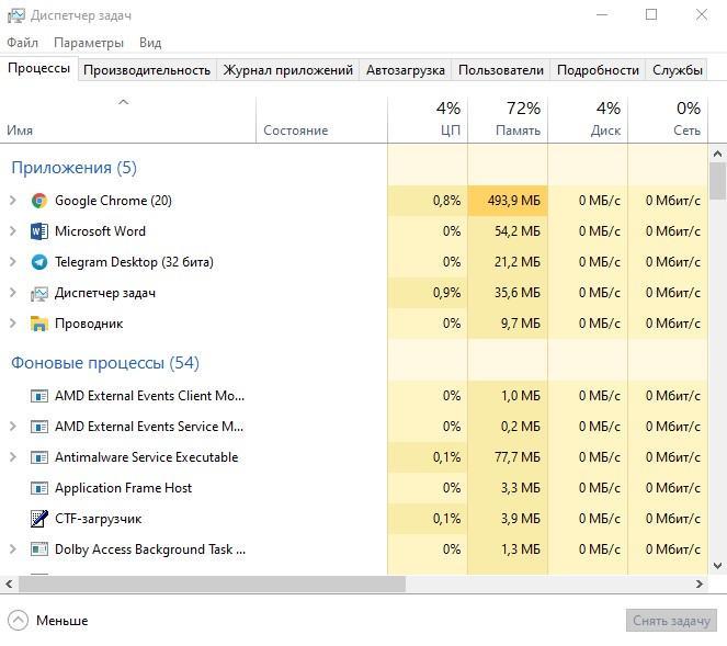 Диспетчер задач в Windows 10