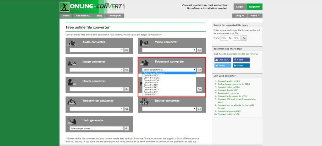 Online-Convert Document converter