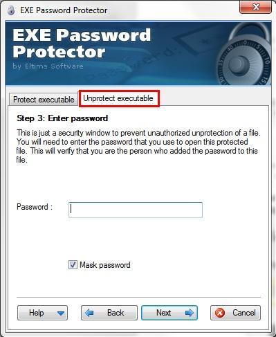 отключить пароль в EXE Password Protector