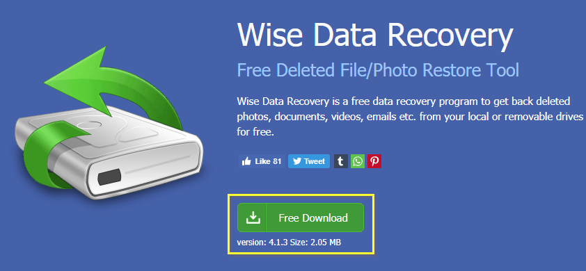 Страница загрузки Wise Data Recovery