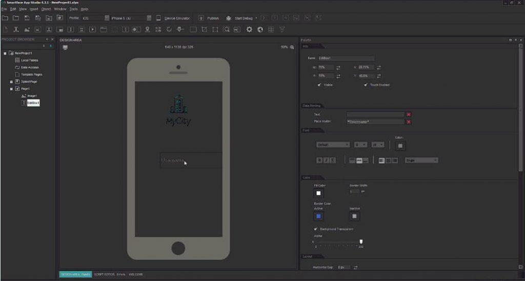 Главный экран Smartface iOS Emulator.