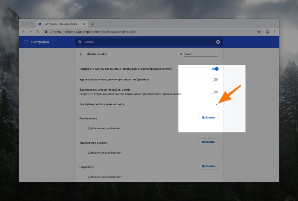 Настройки файлов cookie в Google Chrome
