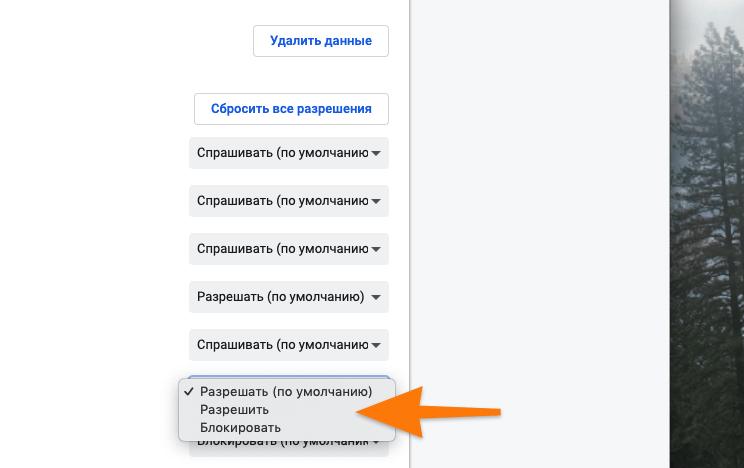 Настройки JavaScript
