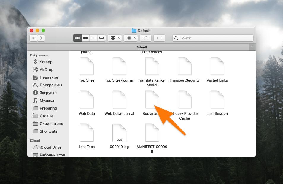 Содержимое папки Default в macOS