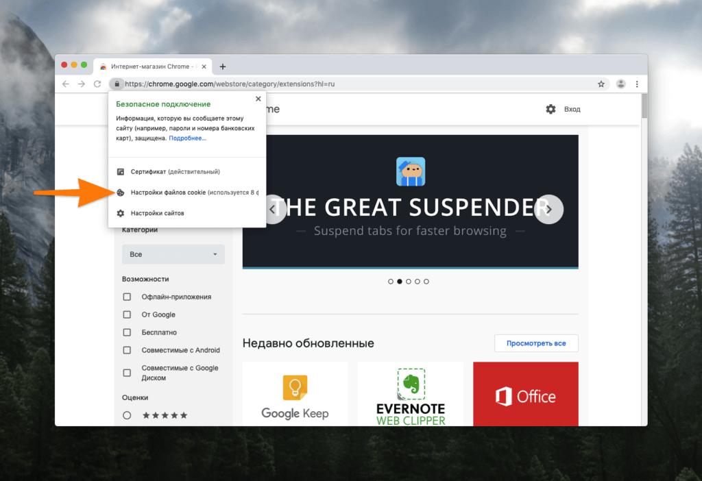 Настройки безопасности сайта в Chrome