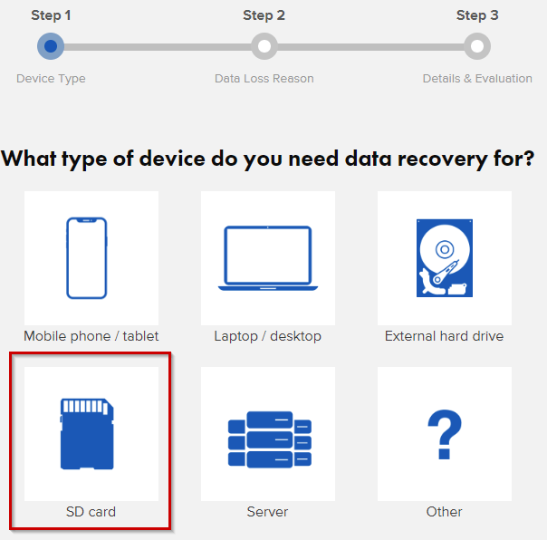 Категории устройств для сканирования Ontrack EasyRecovery