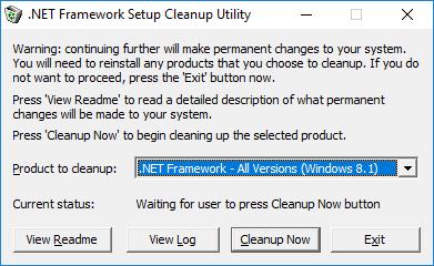 Net Framework setup cleanup utility