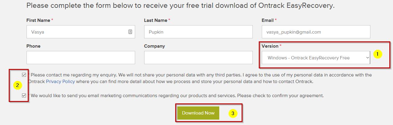 Форма конечного пользователя Ontrack EasyRecovery