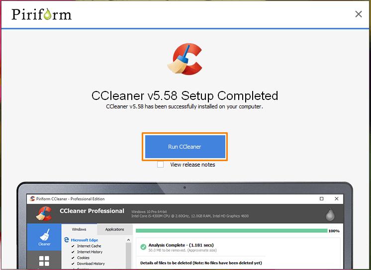 Программа «CCleaner» установлена