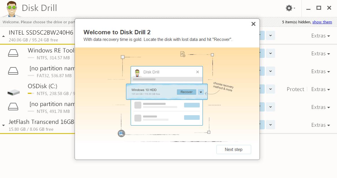 помощник и главное окно Disk Drill