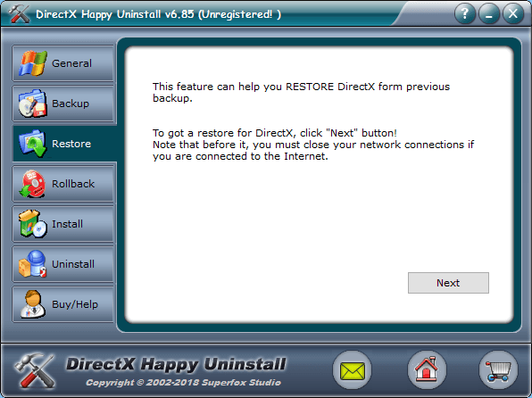 Restore Direct X Uninstall