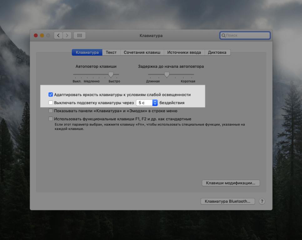 Окно с настройками клавиатуры в macOS