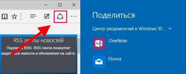 функция «Поделиться» в Microsoft Edge
