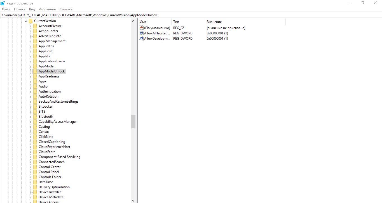 Активация режима разработчика через редактор реестра