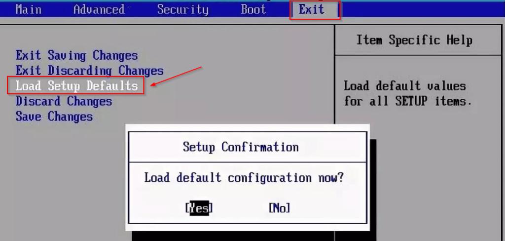bios setup utility exit