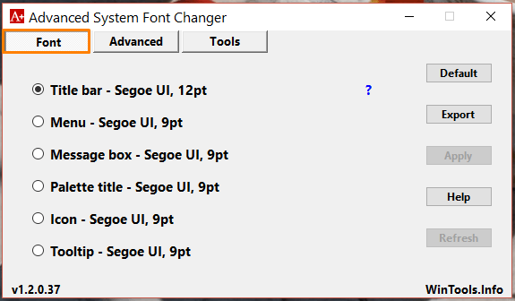 Advanced System Font Changer интерфейс