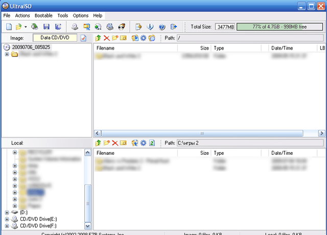 Окно программы UltraISO