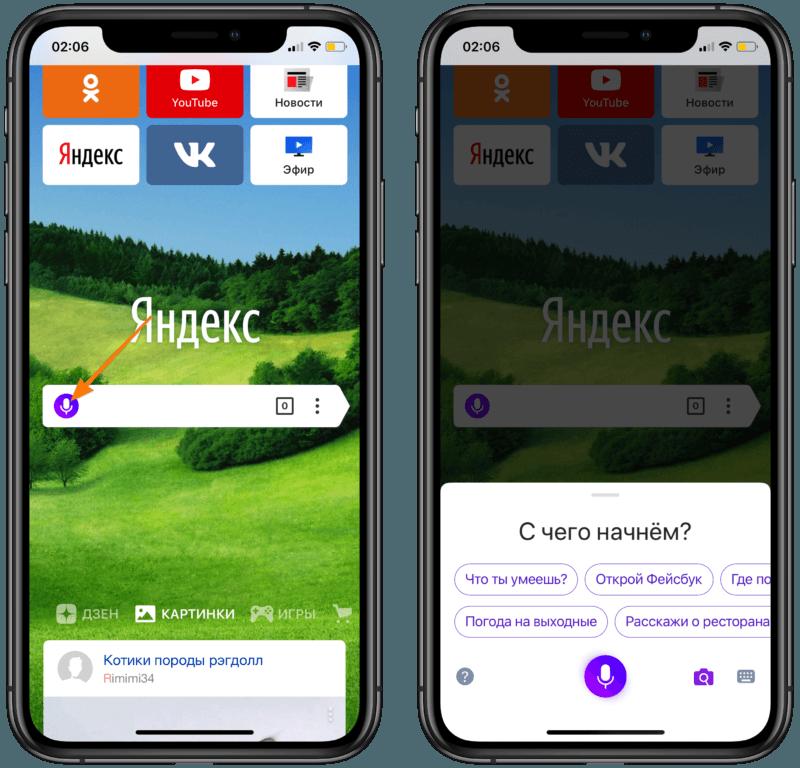 Стартовая страница Яндекс.Браузера и интерфейс Алисы в iPhone