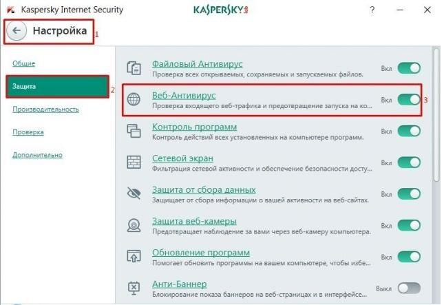 Раздел «Веб-Антивирус» в Kaspersky Anti-Virus