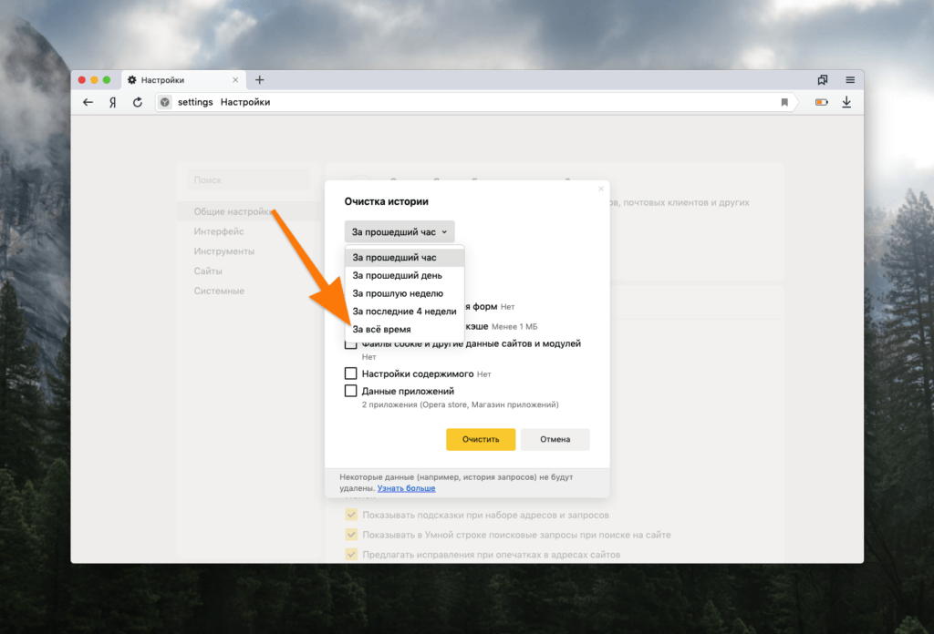 Окно очистки Яндекс.Браузера от истории посещения и прочих временных данных