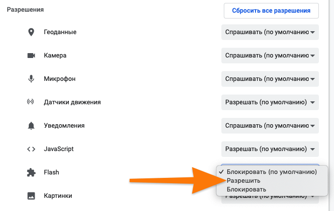 Настройки Flash в Google Chrome
