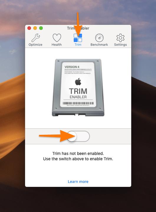 Вкладка TRIM в программе TRIM Enabler
