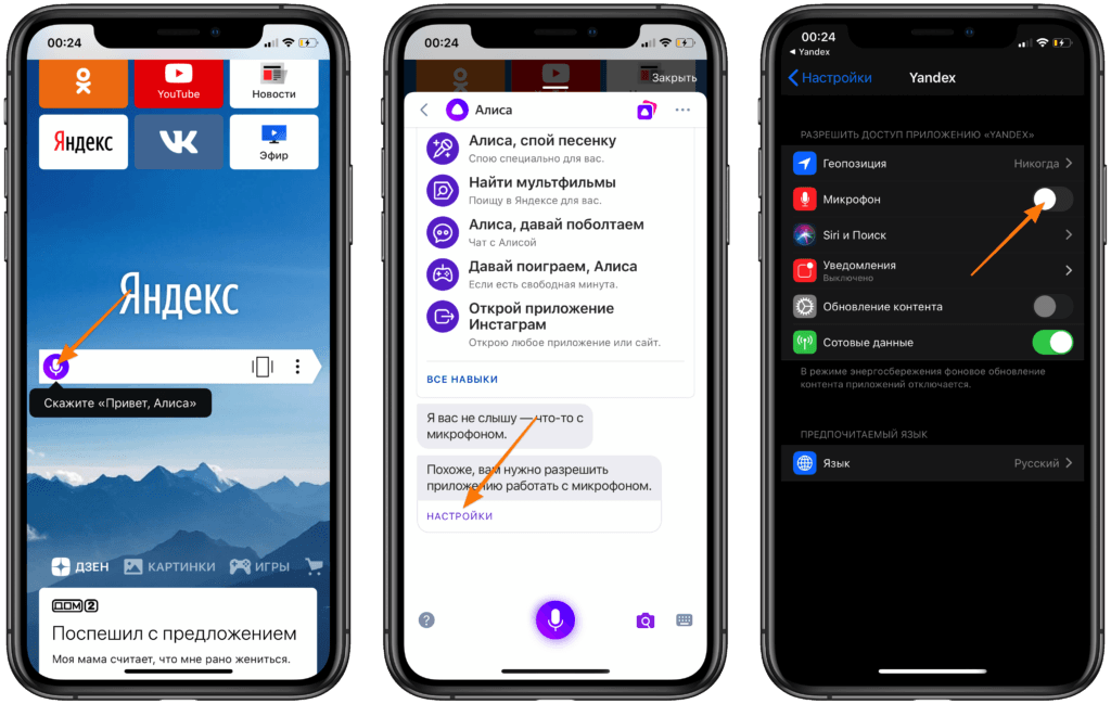 Стартовая страница Яндекс.Браузера, интерфейс Алисы и настройки в iPhone