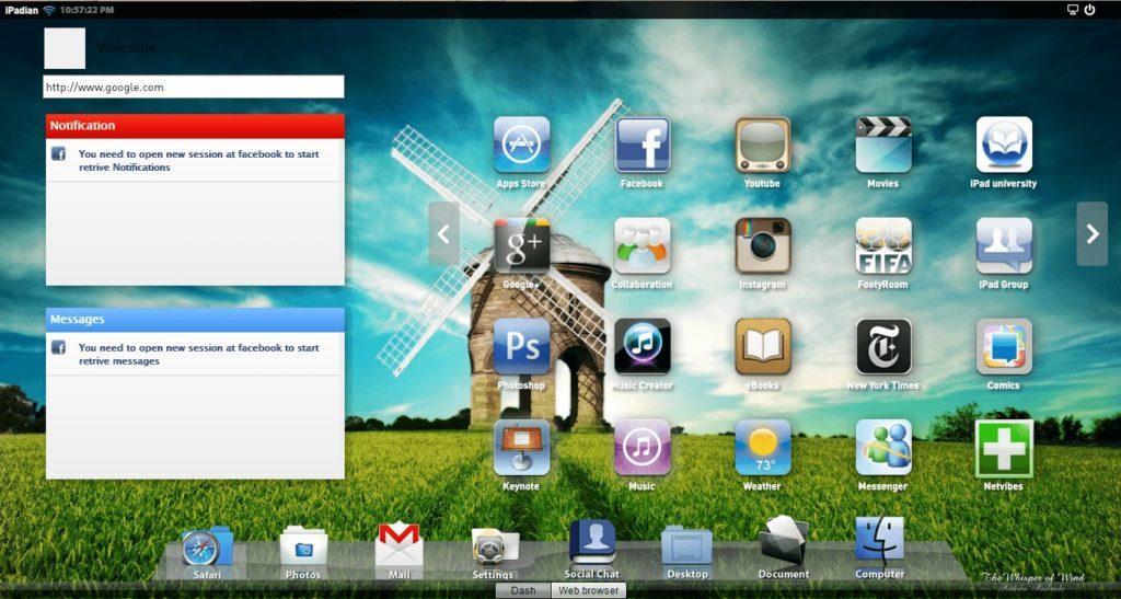 Эмуляция iPad в iPadian.