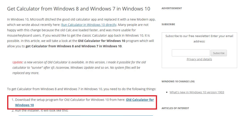 Загрузка старой версии калькулятора в Windows 10