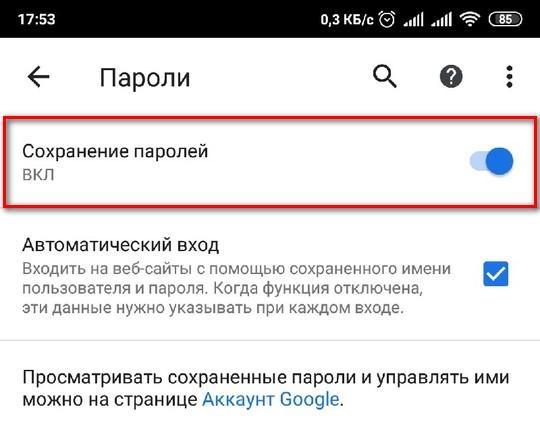 Меню «Пароли» на Андроид