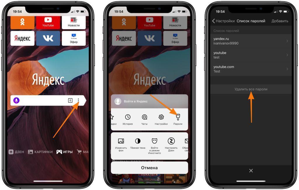 Главное окно, основное меню с настройками и менеджер паролей в Яндекс.Браузере для iOS