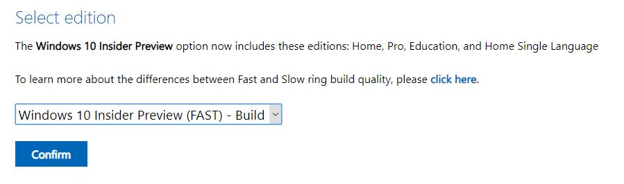Выбор сборки Windows 10 Insider Preview