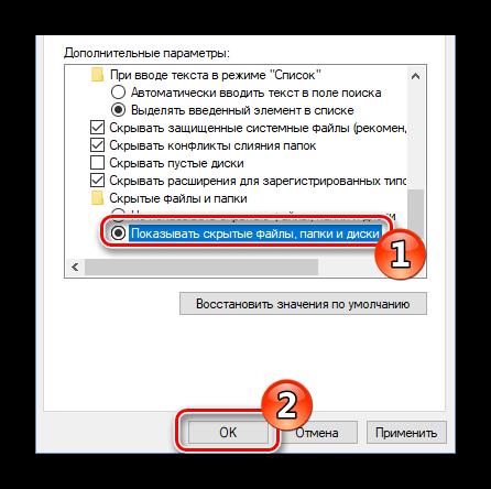Показать скрытые файлы, папки и диски