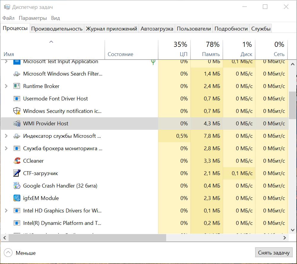 WMI Provider Host Windows 10 грузит процессор