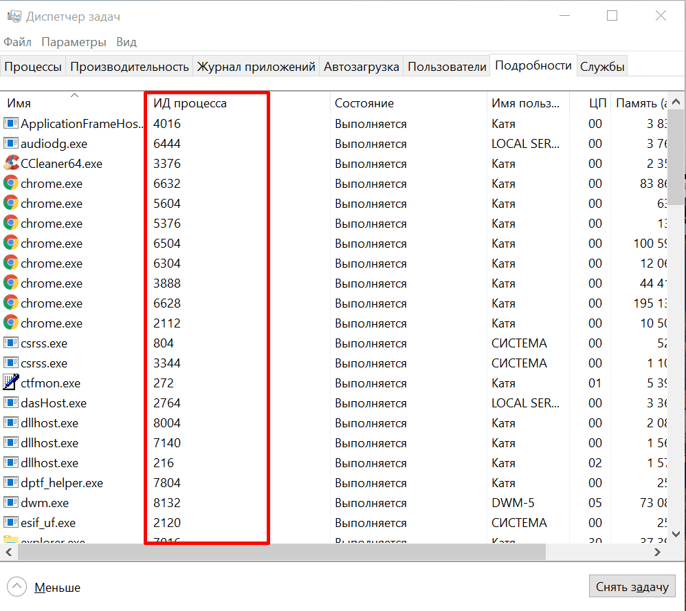 ИД процесса в Диспетчере задач Windows 10