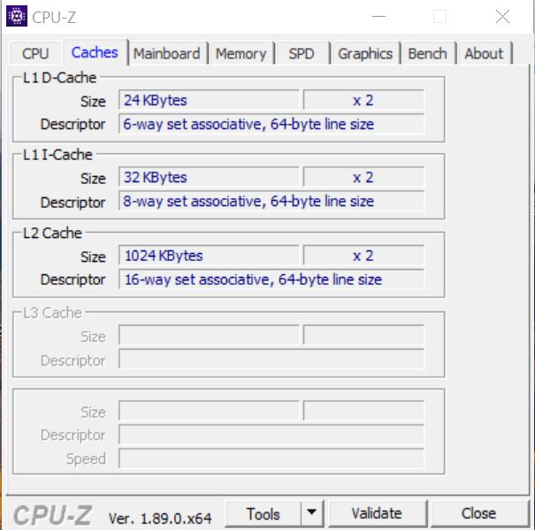 Кэш процессора в CPU-Z