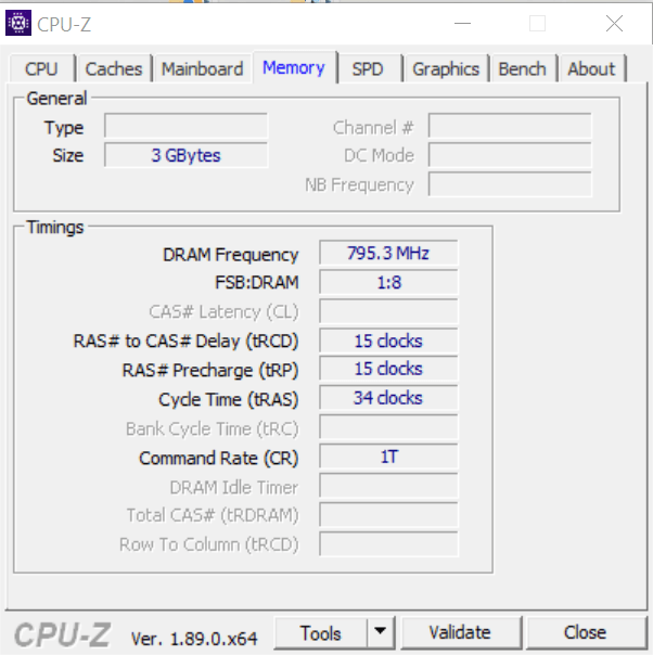 Показатели оперативной памяти в CPU-Z
