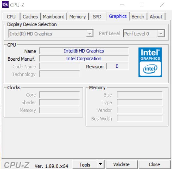 Сведения о видеокарте в CPU-Z
