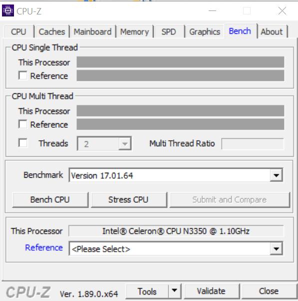 Тесты процессора в CPU-Z