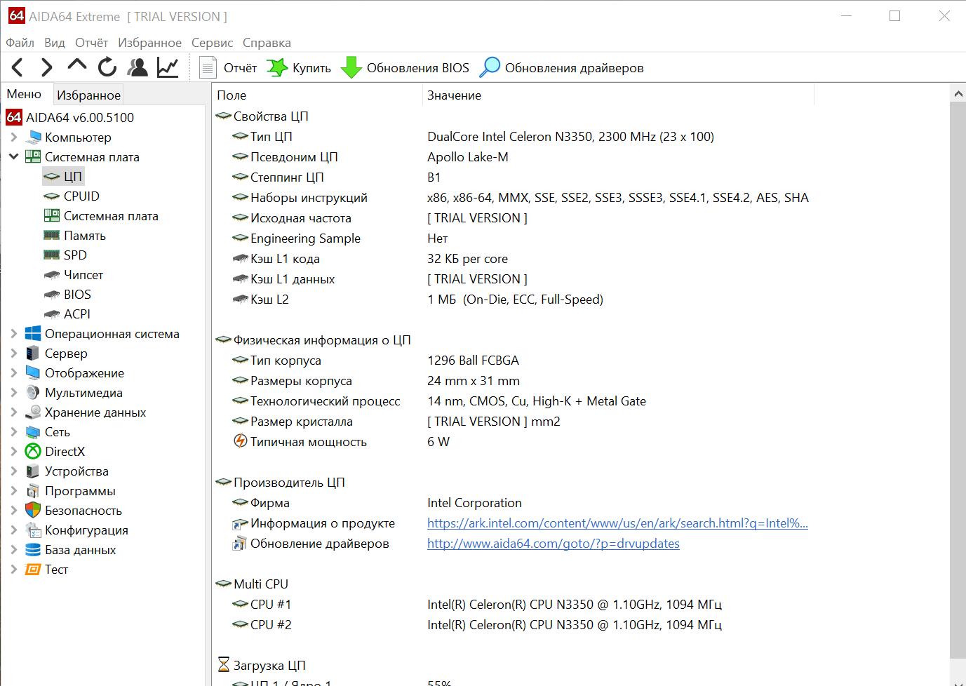 Информация о процессоре в программе AIDA64