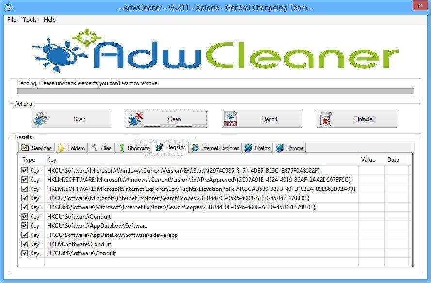 Чистка системы с помощью Adwcleaner