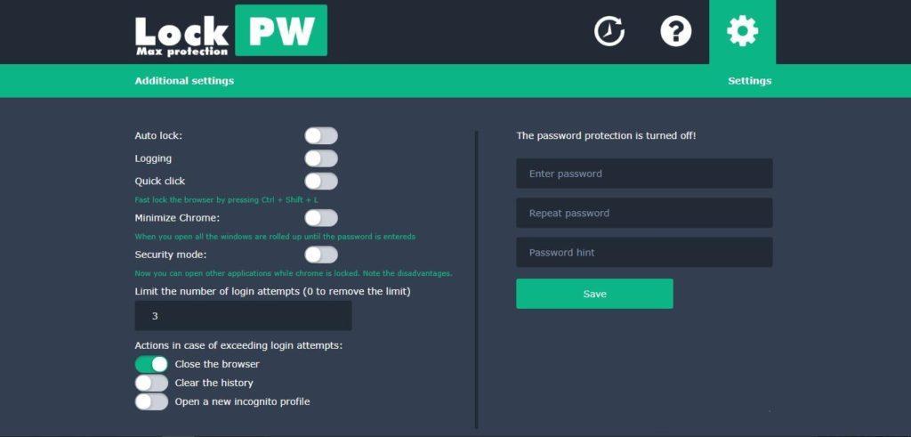 Настройка расширения LockPW Free в Chrome