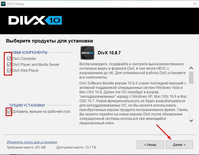 установка DivX Codec Pack