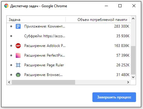 Диспетчер задач в Chrome