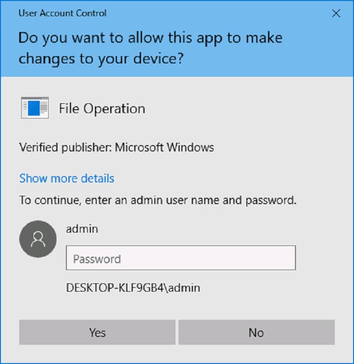 Окно UAC в Windows 10.