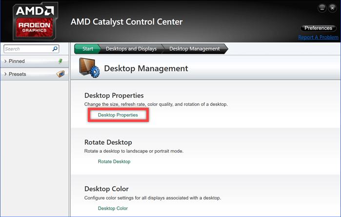 Desktop Properties amd