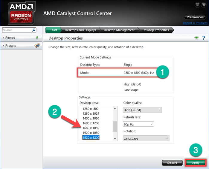 Настройки дисплея в AMD Catalyst